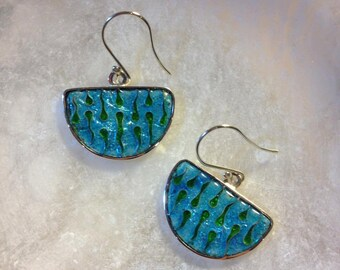 Silver Handmade Enamel Earrings