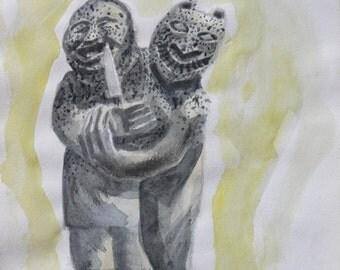 "Watercolor: ""Sulpture Inuit #2"""