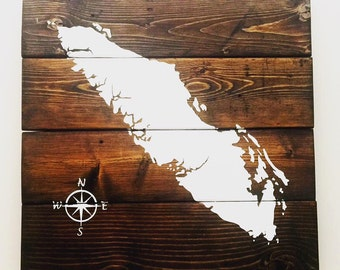 Hand Painted Map of Vancouver Island, Reclaimed Wood