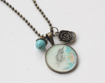 Hand Painted Pendant Necklace w Charms/Watercolor Art