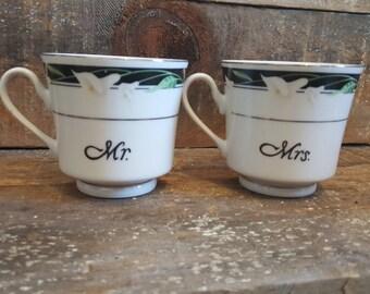 Art Deco Mr & Mrs Tea Cup Set