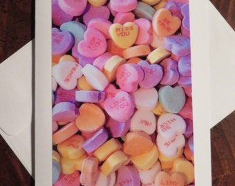 Valentine Candy Hearts. Photo Greeting / Note Card.  Blank Inside.