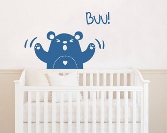 Angry bear wall decal