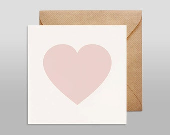 Screenprinted card HEART nude with kraft envelope