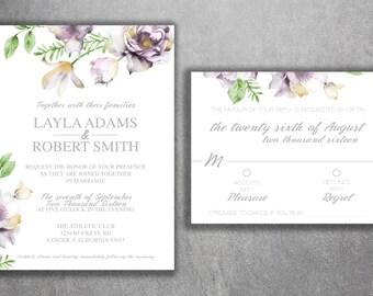 Floral Wedding Invitation Printed Set, Succulent Wedding Invitation, Cheap  Wedding Invitation, Blush Pink