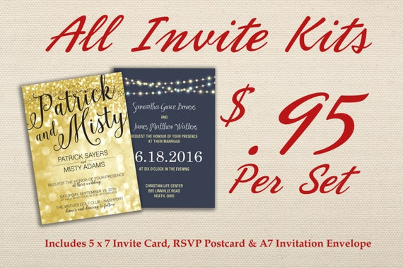 Cheap Wedding Invitations Packages: Affordable Wedding Invitation Set Printed With RSVP Cheap