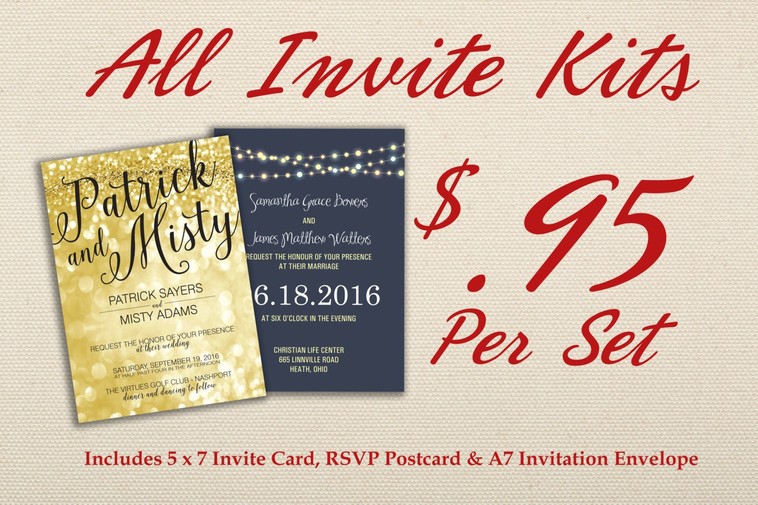 Where To Get Cheap Wedding Invitations: Affordable Wedding Invitation Set Printed With RSVP Cheap