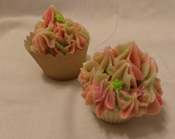 Cupcake Body Soap with Fresh Rose and Rose Geranium Fragrances