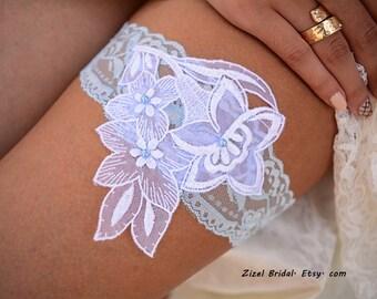 Pale Blue Garter, Wedding Garter White, Light Blue Garter, Lace Wedding Garter, Bridal Garter, Something Blue, White Wedding Gift, Handmade
