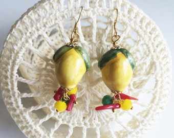 Sicilian colorful earring with lemons
