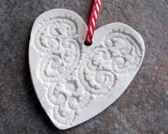 Heart decoration, porcelain decoration, porcelain heart, Christmas decoration, Valentine's decoration, love heart, hanging heart