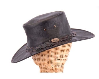 Australian Ram Leather Bush Hat. Real top quality Leather. Dark Brown color