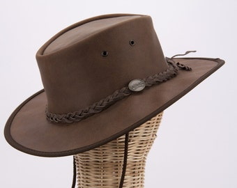 Real Australian Leather Hat. Original Barmah Hat-in-a-Bag. Made in Australia. Brown Color