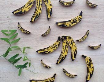 Handmade Jewelry / Banana brooch pin art jewelry / Andy Warhol bananas / Fruit brooch pin