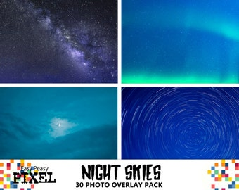 NIGHT SKY OVERLAYS, Photoshop Overlays, Photoshop Overlay, Skies Overlays, Sky Overlays, Photoshop Skies, Moon Overlays, Night Skies