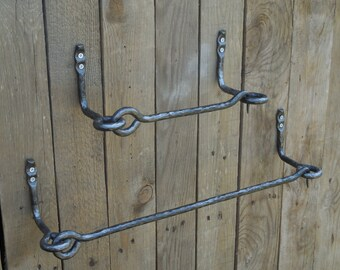 Set of hand forged towel bar and toilet paper holder, Bathroom Accessories, Wrought iron, Blacksmith