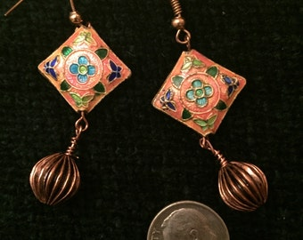 Cloisonne bead dangle earrings