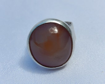 Old Silver Ring with amber stone
