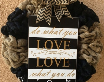 Burlap wreath, love wreath, front door wreath, black and white wreath,