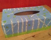Blue Birch Tissue Box