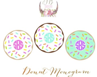 Donut Monogram Decal Sticker