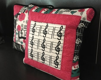 Original Quilted Treble Clef Cotton Pillow Cover