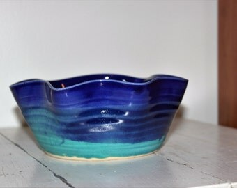 handmade blue and teal ceramic wavy serving bowl