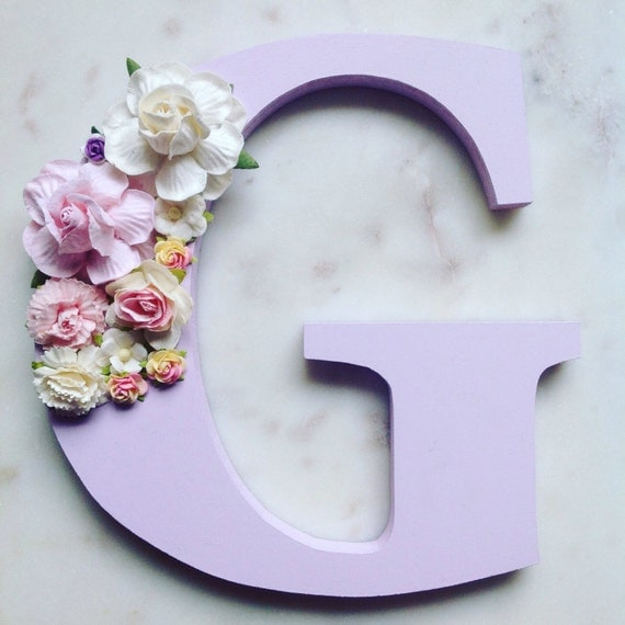 Flower letters floral letters nursery decor for Letter t decoration