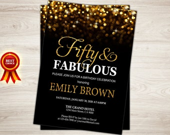 Surprise 50th birthday invitation for women. Gold Glitter Fifty and Fabulous Golden 50. 50th Birthday Party Invitation Printable invite