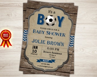 Rustic Soccer Baby Shower Invitation. Blue Chevron Football Boy Baby Shower Invitation. Printable Sports Baby Shower Party Invite