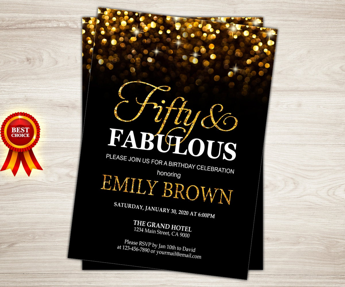 Surprise 50th Birthday Invitation For Women. Gold Glitter