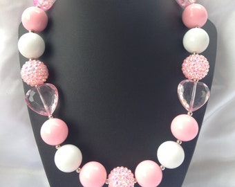 Pink & white bubblegum necklace with heart
