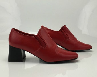 Vintage 90's Red Vegan Stretch Avant Garde Structural Chunky Heel  Minimalist Shoes US 8