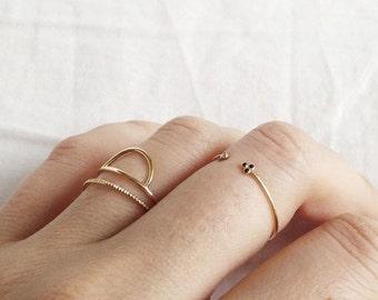 Demi circle ring - Gold plated ring - Minimal ring - Dainty ring - Minimal jewelry - Dainty jewelry - Stackable ring - Geometrical ring