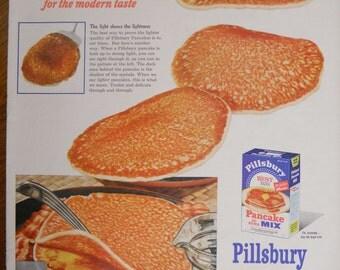 Pillsbury Pancake Mix ad.  1953 Pillsbury Pancake Mix ad.  Full color.  Life Magazine.  November 9, 1953.