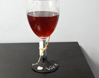 """Chalkboard Wine Glass 7.5"""""""