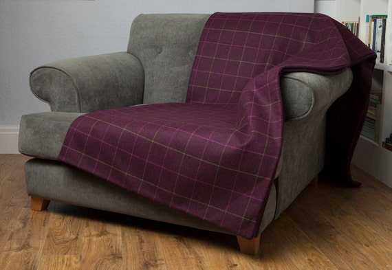 Mulberry Wool Sofa Throw With Waterproof Microsuede Base