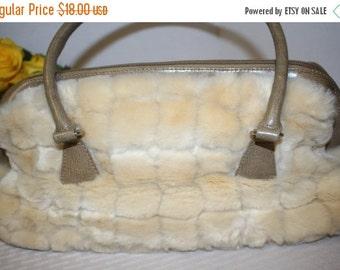 LABOR DAY SALE Vintage Cream colored faux fur purse - fake fur handbag with handles and zipper