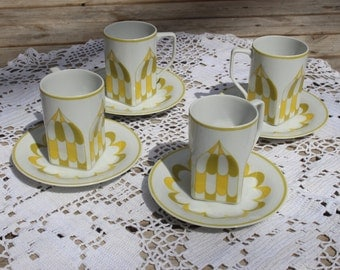 Vintage Mikasa Forecast Skyline Geometric Pattern - Mikasa Fine China -  Green and Gold Dishes - 1970's dishes
