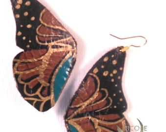 Turquoise Leather Butterfly Earrings