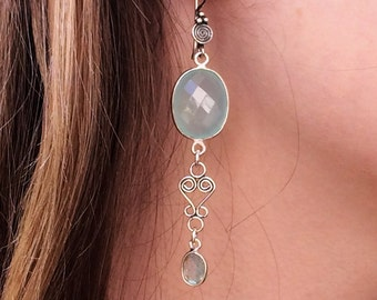 Gorgeous Chalcedony, Labradorite and Sterling Silver Dangle Earrings