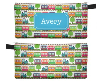 Personalized Pencil Case, Boys Pencil Case, Personalized Trains Pencil Bag, Kids Christmas Gift, Kids Gift, Boys Stocking Stuffer 0251