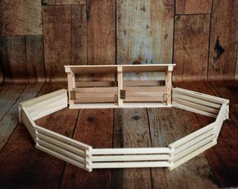 Handmade Wood Toy Rodeo Chutes and Foldup Arena