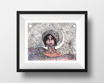 Galactic Girl - illustration - giclee print