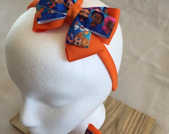 Bubble Guppies Headband; Bubble Guppies Bow; Orange Headband; Orange Bow; Party Favors; Matching Headbands; Doll and Me