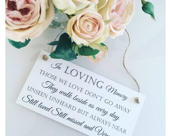 In loving memory berevement plaque sign