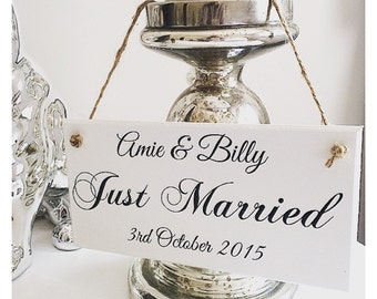 Personalised Just Married Wedding Plaque Sign