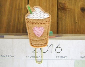 Frappuccino Planner Paper Clip! Coffee Planner Gold Paperclip Bookmark Planner Accessory Stationery School Supplies Cute Planner Gifts