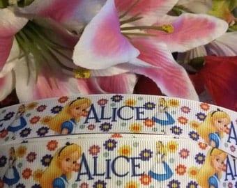 "3 yards, 7/8"" Alice and wonderland design grosgrain ribbon"