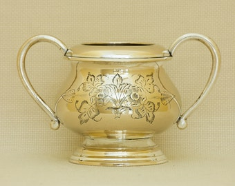 Vintage Silver Plated  Brass Urn with Fine Engraving.